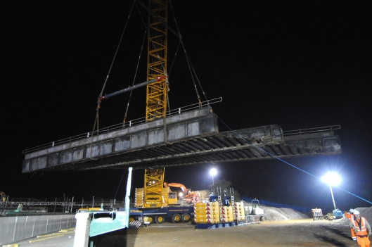 In the early hours of the 3rd March 2013, the old 90 tonne railway bridge that spanned  the Skegness line is lifted out in one piece.