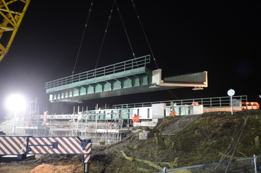Once the old bridge had been removed & the site cleared & prepared the new bridge was lifted into place. This has been built in two sections (one for the Up line & another for the down line)
