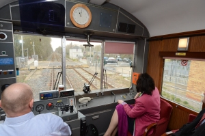 After unveiling the plaque at Ruskington, Claire Perry MP travelled the line back to Peterborough in an inspection saloon. She was accompanied by Network Rail's LNE route director, Phil Verster & GNGE Alliance staff who pointed out the work that had been undertaken.  In this picture we're passing Sleaford North Jn. The old signalbox still stands but it no longer controls the relaid junction & reconnected avoiding line.