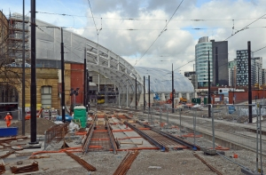 DG208007.New tram tracks. Manchester Victoria. 27.3.15