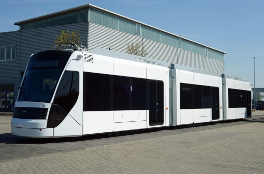 One of the 19 3-car Avenio hybrid trams Siemens are building for Doha in Qatar.