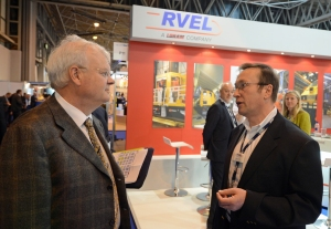 Network Rail Chairman, Professor Richard Parry Jones chatting to Andy Lynch RVELs Managing Director on their stand at Railtex