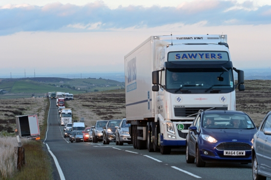 The queues and parked up lorries reminded me of a retreating army...