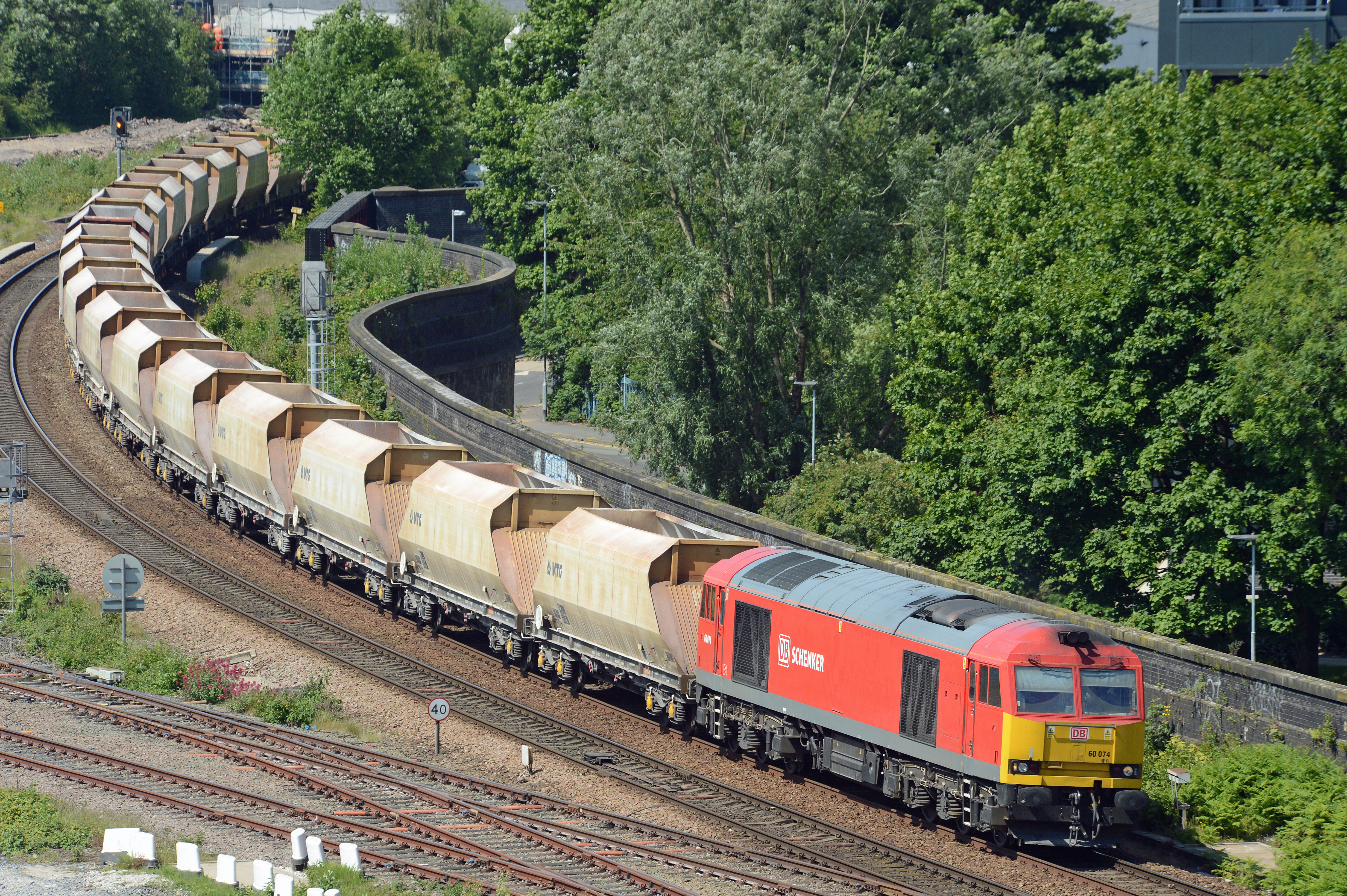 60074 passes Salford West Junction with 6H43 the 11.10 Pendleton to Tunstead empty stone train.