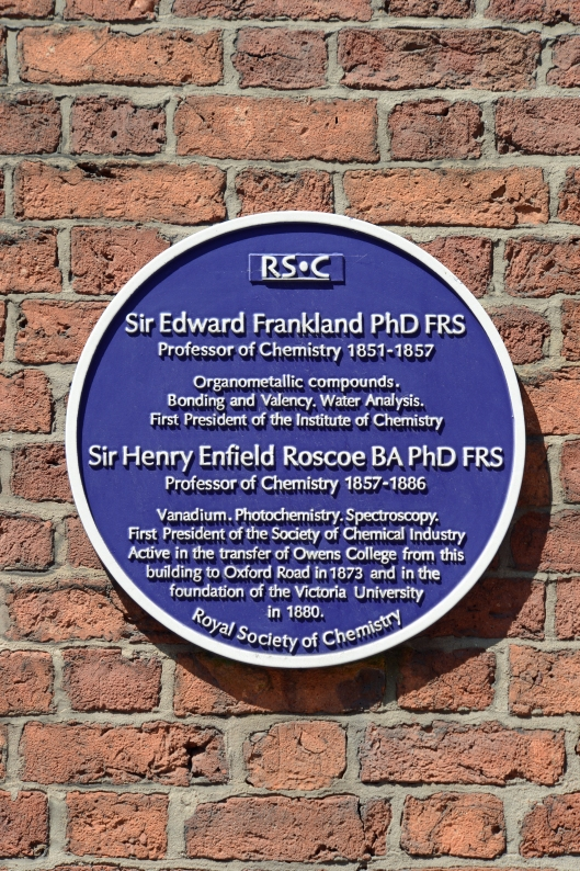 There's a plethora of plaques in Castlefield. This one celebrates the areas links with education & chemistry.