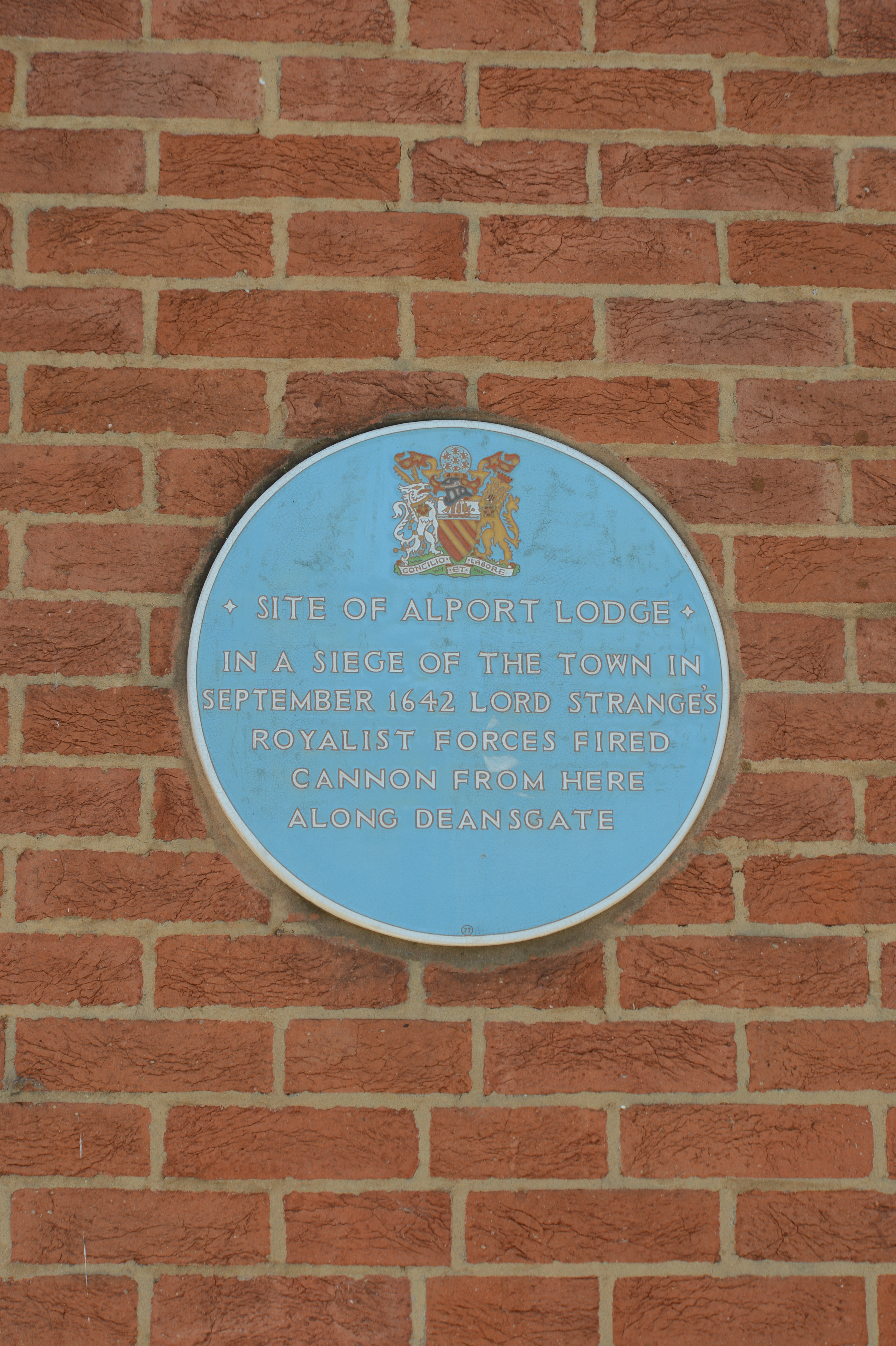 This plaque celebrates less settled times when the area was a battlefield in the English civil war.