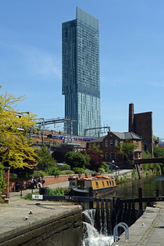 Contrasts in Castlefield. The Rochdale canal and Manchester's tallest building, BeethamTower