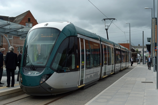 Our special tram sits at the single platform stop at Beeston.