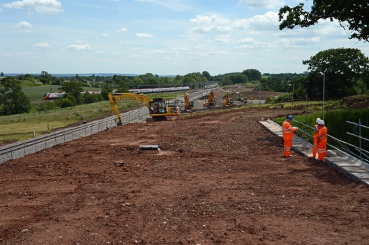 Looking at the new cutting towards Stafford & the connection with the existing WCML at Chebsey