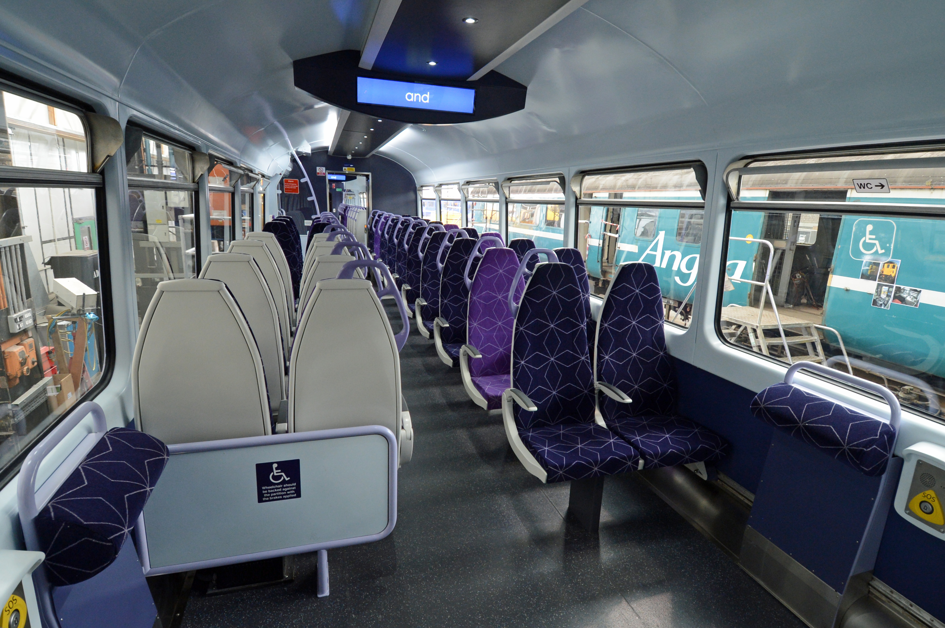 The interior seen from the two wheelchair spaces.