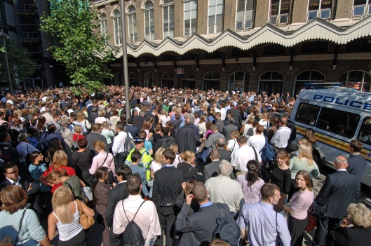 With no tubes & buses running, people made their way home as best they could. Thousands of people waited patiently outside Fenchurch St station. There was no fuss or panic, despite the obvious concern that such a crowd of people made an easy target.