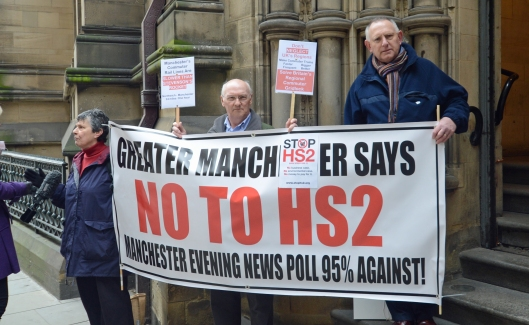 DG173944. Anti Hs2 protest. Manchester. 17.3.14