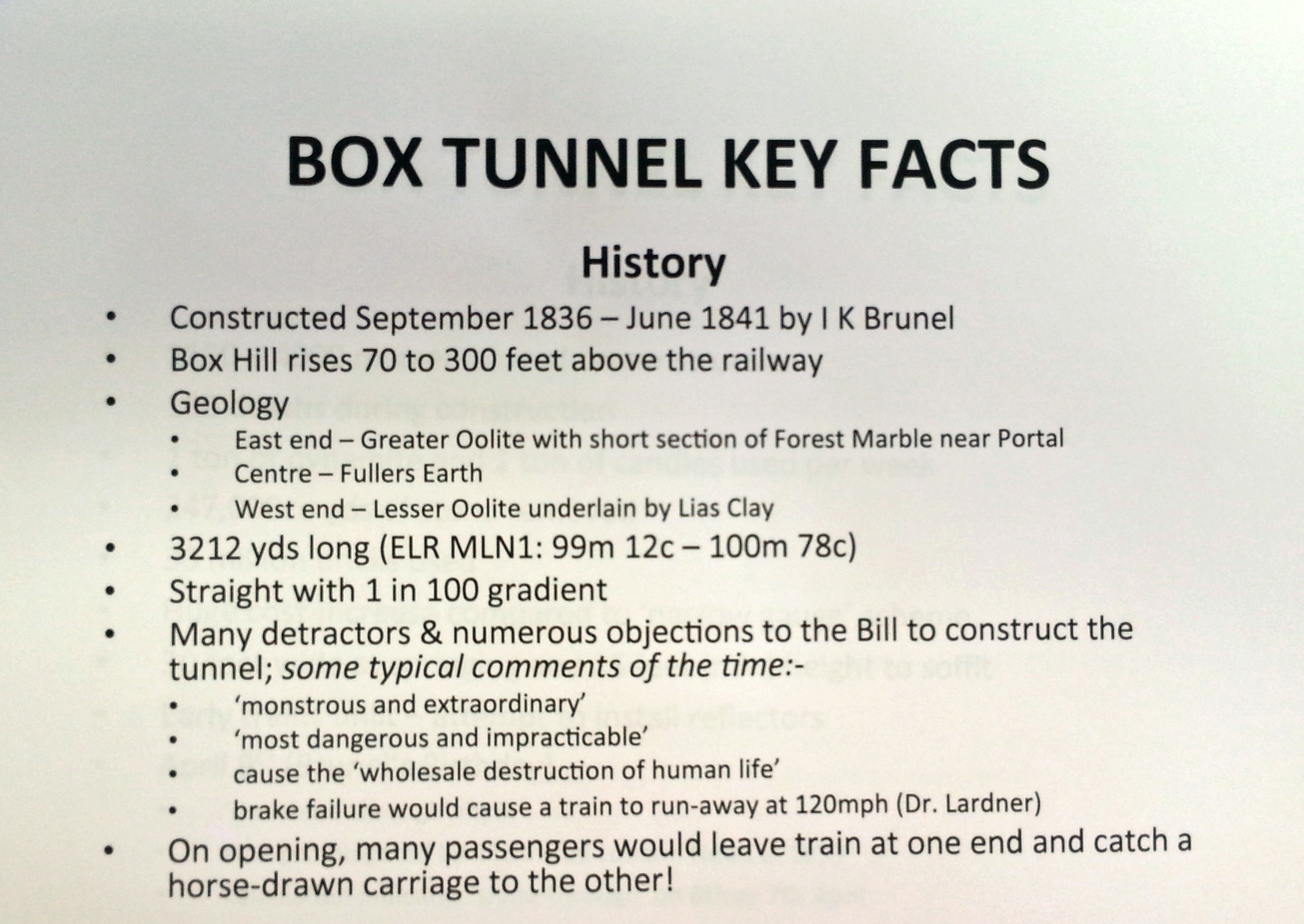 Box tunnel facts