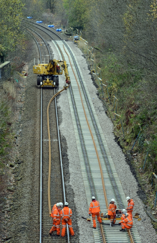 DG235206. Clipping new track in place. Luddenden. 22.11.15.