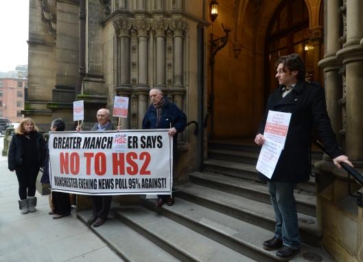 DG173935. Anti Hs2 protest. Manchester. 17.3.14