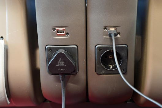 DG245841. Eurostar e320. at seat USB power sockets. 14.6.16