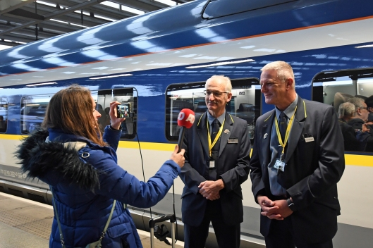 DG289711. Crew of train 9114, the press trip to Amsterdam. St Pancras International. 20.2.18