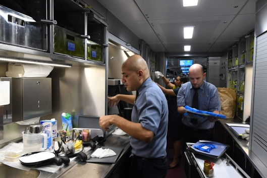 DG289756. Busy time in the galley. train 9114, the press trip to Amsterdam. 20.2.18