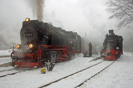 FDG05141. 99 7235. 99 6101. Drei Annan Hohne. Harz railway. Germany. 10.2.07