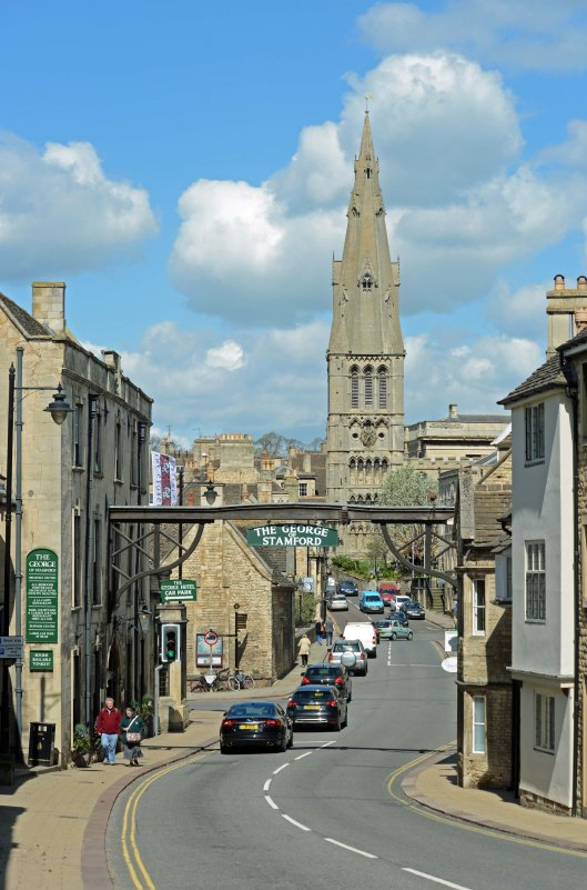 DG212631. The George & St Mary's church. High St. Stamford. 28.4.15crop