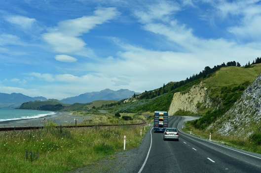 dg316139. heading down highway 1 from blenheim to kaikoura. new zealand. 13.1.19crop