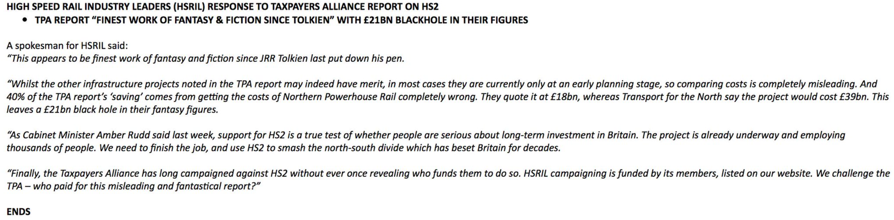 HSRIL statement
