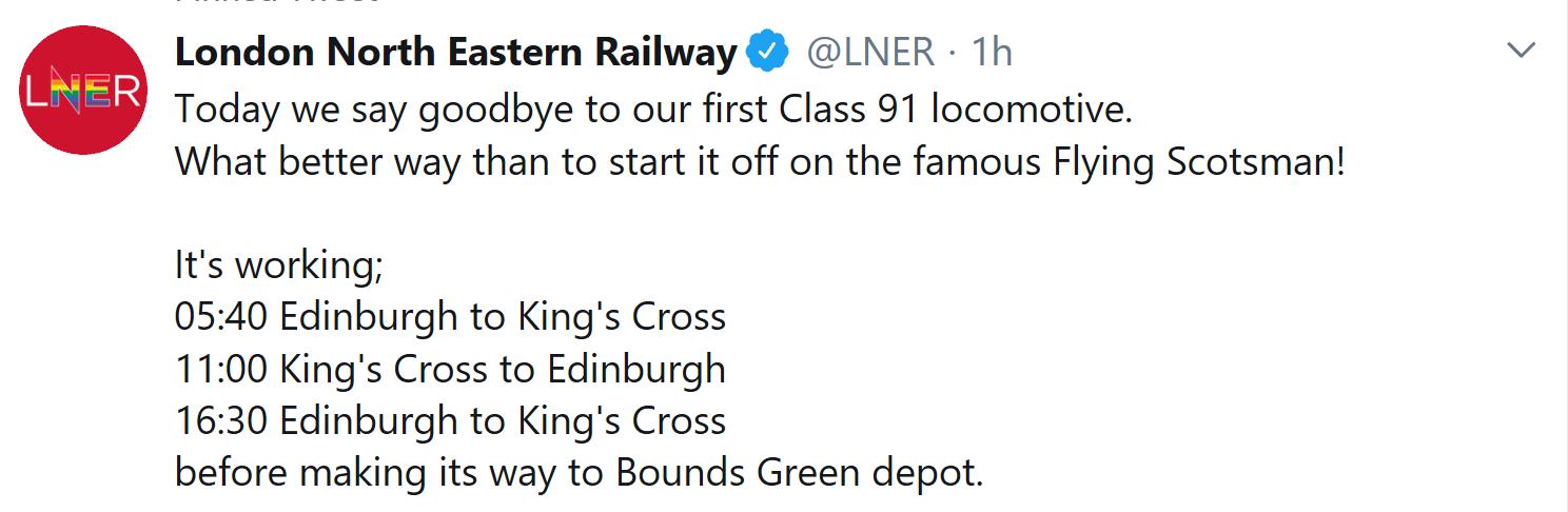 LNER tweet