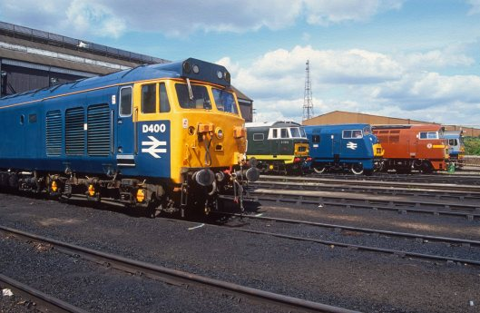 02935. D400. D7018. D821. Old Oak Common open day. 18.08.1991 crop