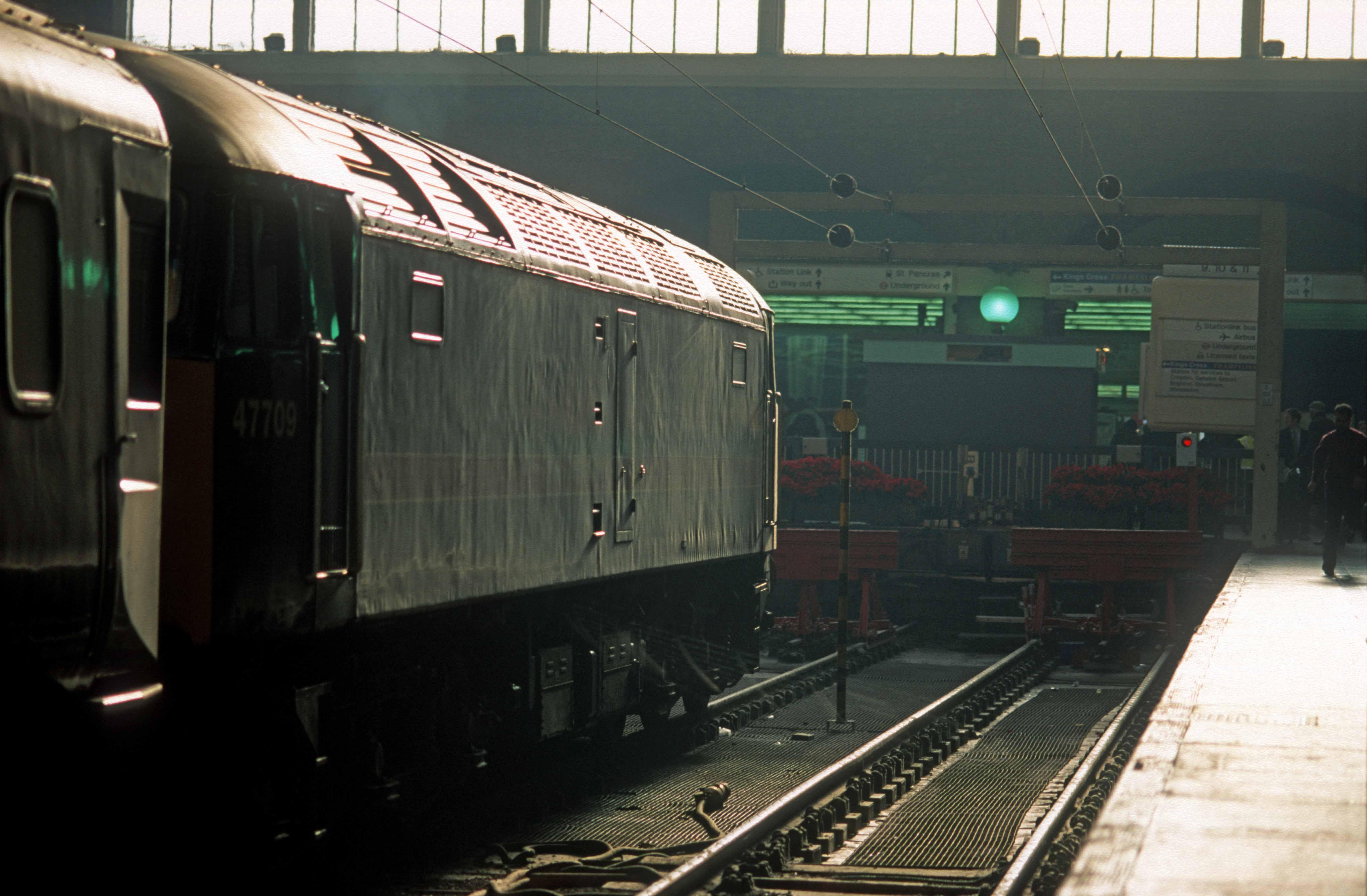 07451. 47709. Regency railtour Ex-Newcastle. ECS to Bounds Green London Kings Cross. 16.12.1999crop