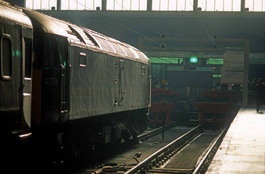 07451. 47709. Regency railtour Ex-Newcastle. ECS to Bounds Green London Kings Cross. 16.12.1999crop