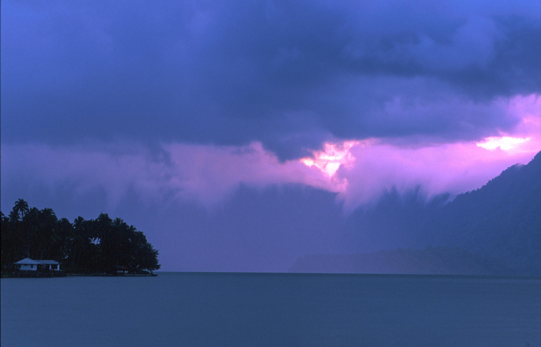 T7623. Storm over Maninjau lake. Sumatra. 1992.