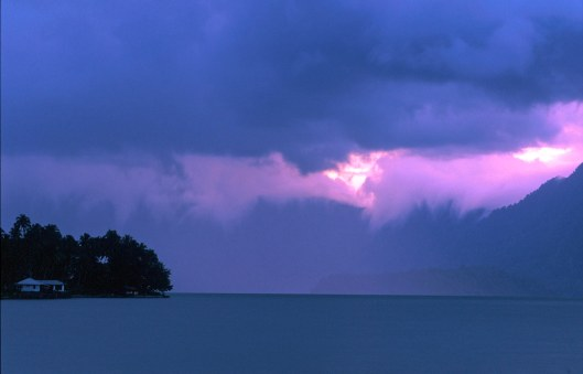 T7623. Storm over Maninjau lake. Sumatra. 1992.