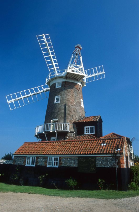 T9210. The Windmill. Cley next the Sea. Norfolk. England. 29.08.1999. crop