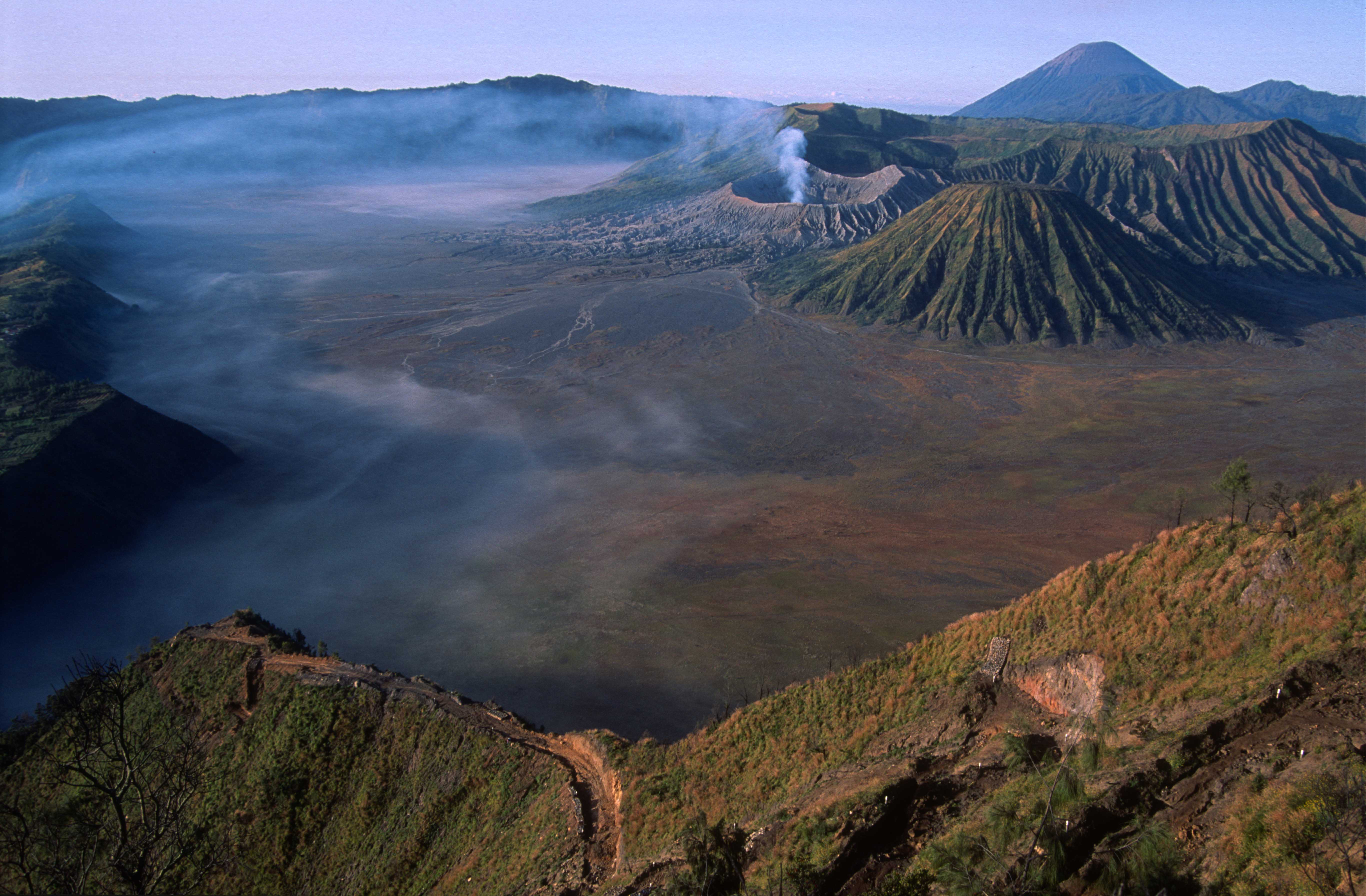 T3933. Craters and mist at Mt Bromo. Java. Indonesia. July 1992crop