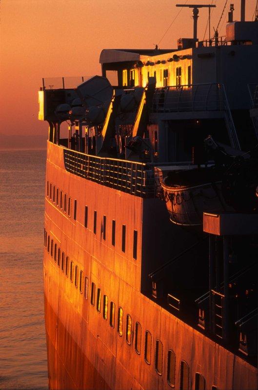 T14172. Side of a ferry at dawn. Rafina. Greece. 21.09.02crop